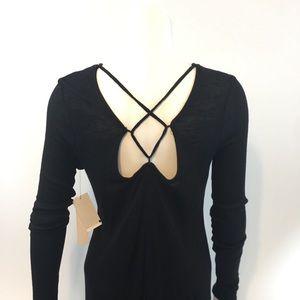 Design Lab Lord & Taylor Dresses - Design Lab black dress strappy back M long sleeve
